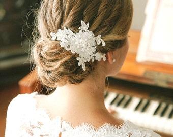 Pearl wedding hair pin, ivory lace wedding hair pin, lace hair pin for wedding - style #129