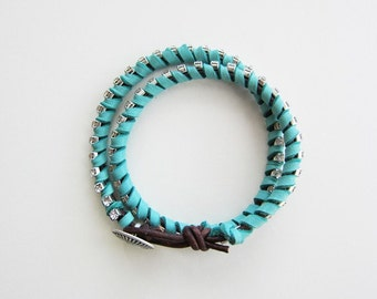 Turquoise Leather Rhinestone Wrap Bracelet