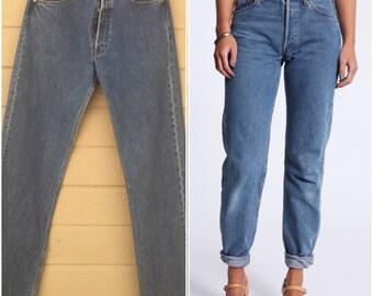 Vintage Levi's 501 Boyfriend Jeans / Waist 33 x 37 / Vintage Levis / Medium Wash / Distressed / Denim / Vintage denim / button fly eb