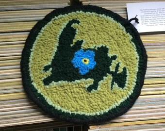 Forget Me Not Newfoundland Teapot Rug Coaster Handhooked Wool Fabric Mat