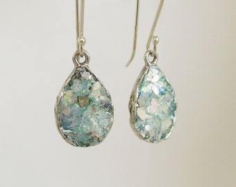 Drop earrings with roman glass & sterling silver, wedding earrings