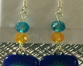 Golden State Warriors Fused Glass Earrings. Go Dubs! Silver toned fish hook