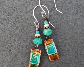 Boho Chic Teal and Brown Spiral Patterned Ceramic Earrings, Tribal Rustic Earthy Organic Dangle Teal Earrings