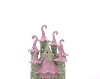 Ceramic Fairy Castle Handbuilt lantern Magical Art garden art gardener's gift garden sculpture women's gift fairy garden nightlight claysoul