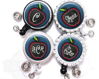 Retractable Id Badge Holder - Personalized Chalkboard Apple on Blue Polka Dots Lanyard Reel with Name, Monogram, Occupation Title (A343)