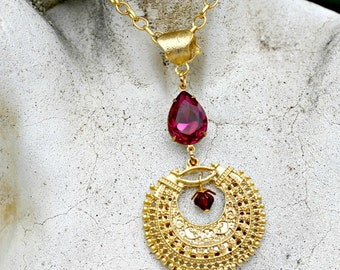 Bohemian Chandelier Necklace - Gold, 22k Plated, Crescent, Pink, Jewel, Swarovski Crystal, Fuchsia, Filigree, Gift for Her, Boho Chic, Women