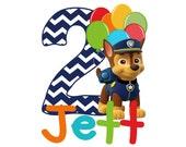 Digital PDF Personalized Puppy Paw Patrol Birthday Chase Chevron Iron On Transfer or T-shirt DESIGN