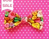 Small Hair Bow Clip Candy Hearts Bow Fairy Kei Hairbow for Girls Teens Women Kawaii Hair Accessories