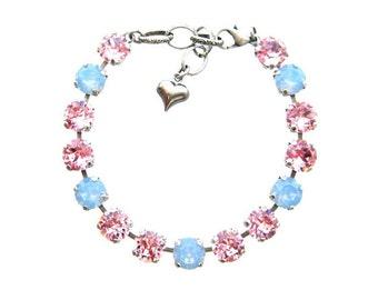 Light Rose Air Blue Opal Swarovski Crystal Bracelet Rhinestone Tennis Bracelet, Rhinestone Bracelet, Gifts Ideas, Stacking Bracelets