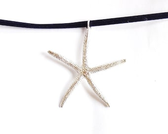 Sterling starfish necklace, beach jewelry, dramatic nautical accessory, SCUBA jewelry, oceanography gift, swimmer gift, surfer necklace