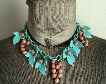Vintage Celluloid Aqua Leaves and Berries Necklace