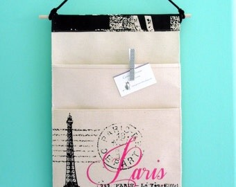 Wall or Door Hanging Organizer in a Two Pocket Parisian Design