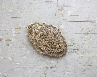 vintage filigree hair clip