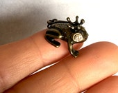 FROG PRINCE Charm with Rhinestone eyes and Crown-Brass frog charm-Rhinestone frog charm-Toad charm-Fairytale frog charm