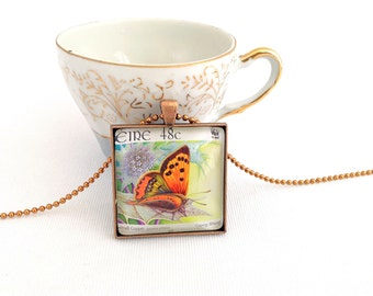 butterfly necklace, postage stamp necklace, large square pendant butterfly, 2005 Eire