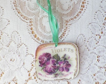 Violet / Violets Perfume Label Double Sided Ornament, Purple Violets, Green Ribbon, Shabby, Home Decor, Glitter,