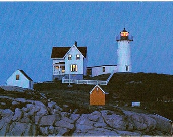 Maine Vintage Postcard - Nubble Light at Dusk (Unused)