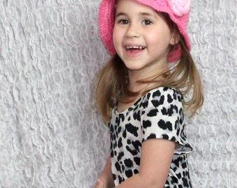 Crochet CLOCHE HAT – Pink Rose Spring Hat