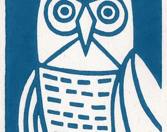 A Blue Owl. Linocut Greeting Card.