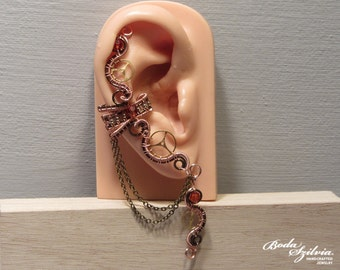 Orange STEAMPUNK EAR CUFF - wire wrapped ear cuff, elegant ear cuff, steampunk jewelry, no piercing ear cuff, ooak jewelry, gear ear wrap
