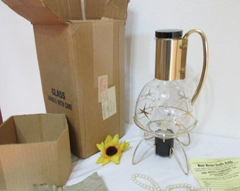 Coffee Pot Carafe with Candle Warmer New Old Stock