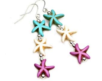 Colorful Starfish Earrings Long Beachy Dangles Sea Ocean Jewelry Turquoise White Lavender Boho Chic Beach Nautical Fun Fashion Mei Faith