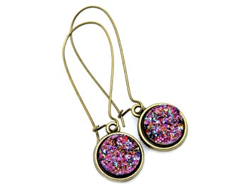 Druzy Earrings Purple Druzy Gold Dangles Bright Sparkle Shimmer Luster Lavender Lilac Everyday High Fashion Style by Mei Faith