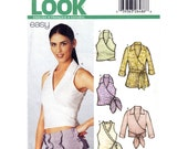 Wrap Top Pattern New Look 6252 Easy Wrap Blouse or Tunic With Belt, Sleeveless or 3/4 Sleeves Top Womens Sewing Pattern Size 6 to 16 UNCUT
