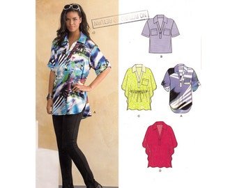 Womens Shirt Pattern New Look 6105 Loose Fit Poncho Top Pullover Blouse Womens Sewing Pattern Size 4 to 16 UNCUT