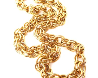 Signed Joan Rivers 1980's Vintage Chunky Heavy Duty Double Chain Link Gold Tone Metal Single Strand Necklace