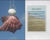 Angel ornament with poem- Seashell angel- Sea shell angel- Beach ornament- Seashell ornament- Beach angel- Broken shell angel