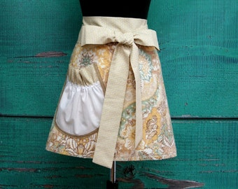 Towel Apron - Shower Hostess Apron - Yellow, Teal and Tan Paisley