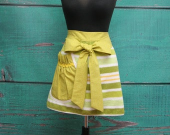 Towel Apron - Shower Hostess Apron - Lime Green Stripe -  READY TO SHIP