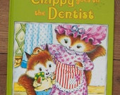 vintage 80s A happy ending book Chippy Goes To the Dentist children picture book girl boy
