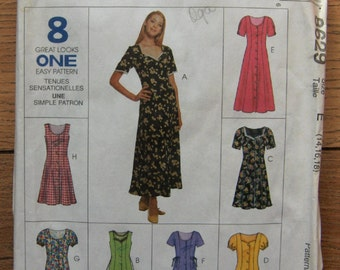 1997 McCalls pattern 8629 misses dress 8 looks neckline and sleeve variations front button opening sz 14,16, 18 uncut