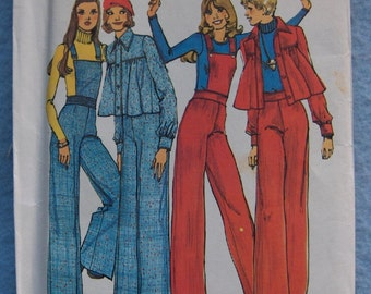 Vintage 70s Simplicity pattern 6669 Misses JACKET and Wide-Leg  PANTS detachable bib sz 10 bust 32 1/2