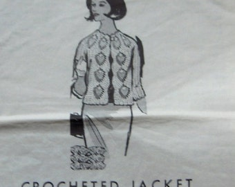 vintage mail order pattern 892 crocheted jacket pineapple design on yoke and fronts sz 32-46 women misses