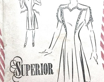 1940s Superior 6880 One-Piece Dress Vintage Sewing Pattern Bust 34