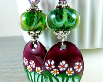 Aubergine Floral Enamel Dangle Earrings, Green Boro Lampwork Glass Earrings, Purple Green White Summer Earrings, Enameled Copper, Boho Chic