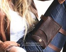 Brown Leather Thigh Bag - Adjustable