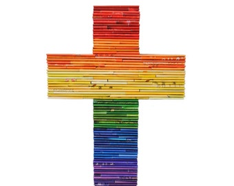 Rainbow cross-  made from recycled magazines, red, orange, yellow, green, blue, purple, love for all, pride