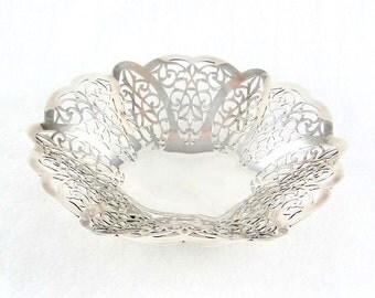 Silver Plate Lovelace Pattern Candy Dish by International Silver Company