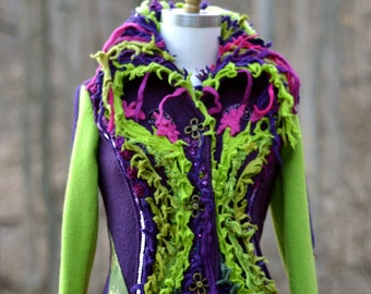 Patchwork boho long Sweater COAT, fantasy wearable art clothing, up cycled one of a kind Eco-Couture. Size S/M. Ready to ship