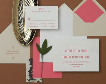 Caliza Letterpress Beach Wedding Invitation Sample