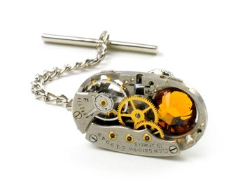 Antique 1939 Elgin Watch Steampunk Tie Tack Pin Chain Clip