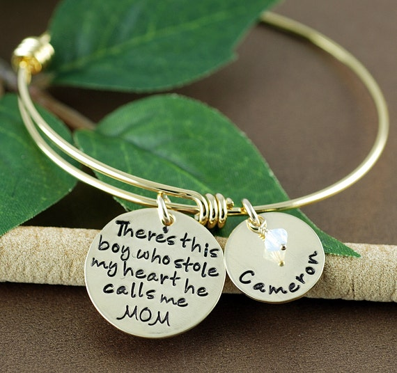 There's this boy who stole my heart Bracelet, Jewelry for Mom, Personalized Bangle Bracelet, Gold Bangle Charm Bracelet, Name Bracelet