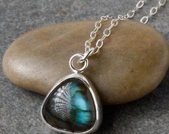 Necklace, Labradorite Necklace, Silver Necklace, Labradorite Pendant, Green Labradorite Necklace, Sterling Silver Necklace