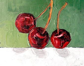 Impressionist CHERRIES Painting Summer Orchard Garden Fruit Art Lynne French 11x14