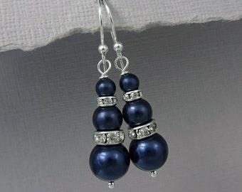 Navy Pearl Earrings, Bridal Earrings, Bridesmaid Earrings, Bridesmaid Gift Earrings, Swarovski Night Blue Pearl Earrings, Wedding Earrings