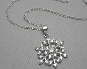 Snowflake Necklace, Sterling Silver and CZ Snowflake Pendant on Sterling Silver Necklace Chain, Winter Wedding Necklace, Bridesmaid Necklace